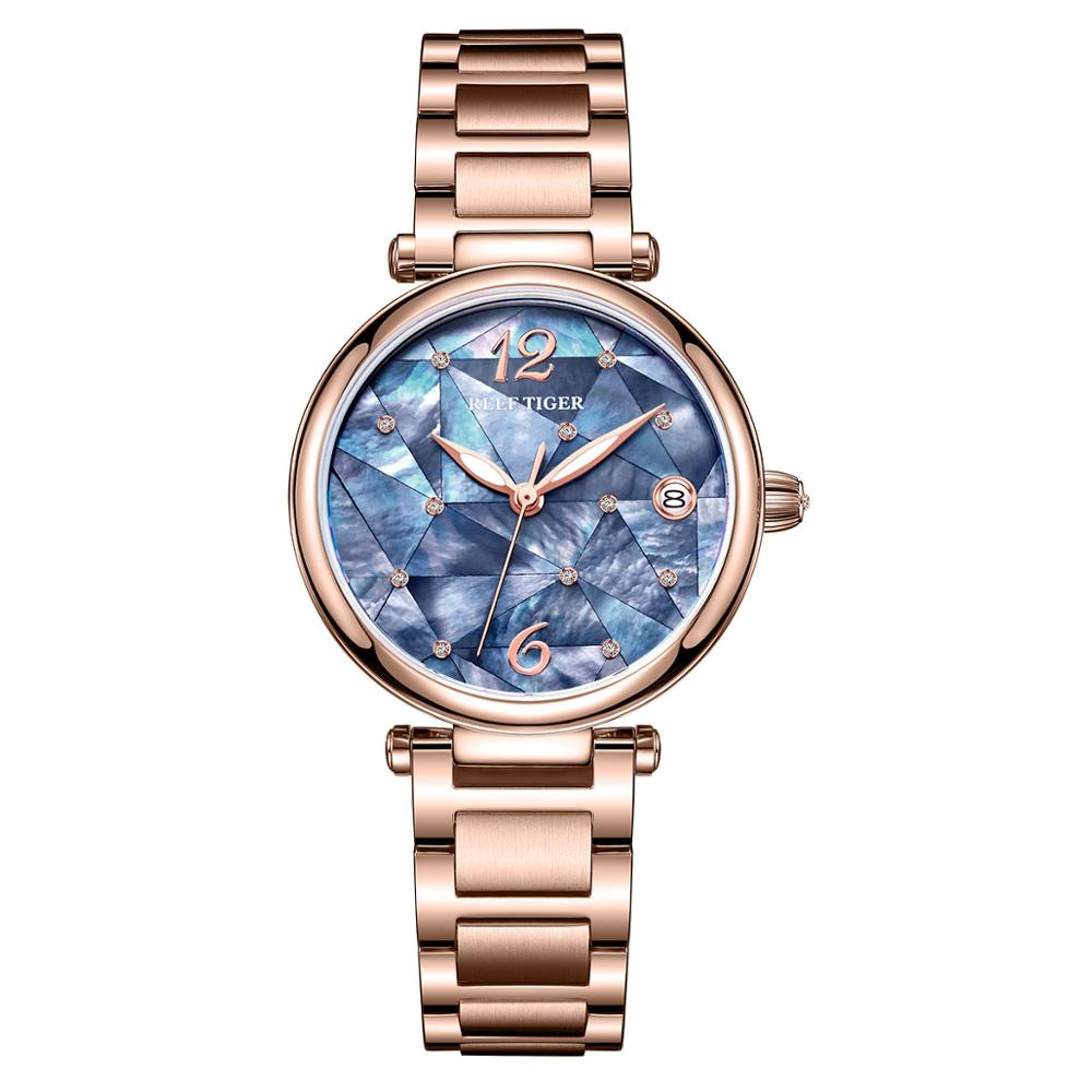 Reef Tiger/RT New Design Luxury Stainless Steel Blue Dial Automatic Watches Women Rose Gold Steel Strip Watch RGA1584