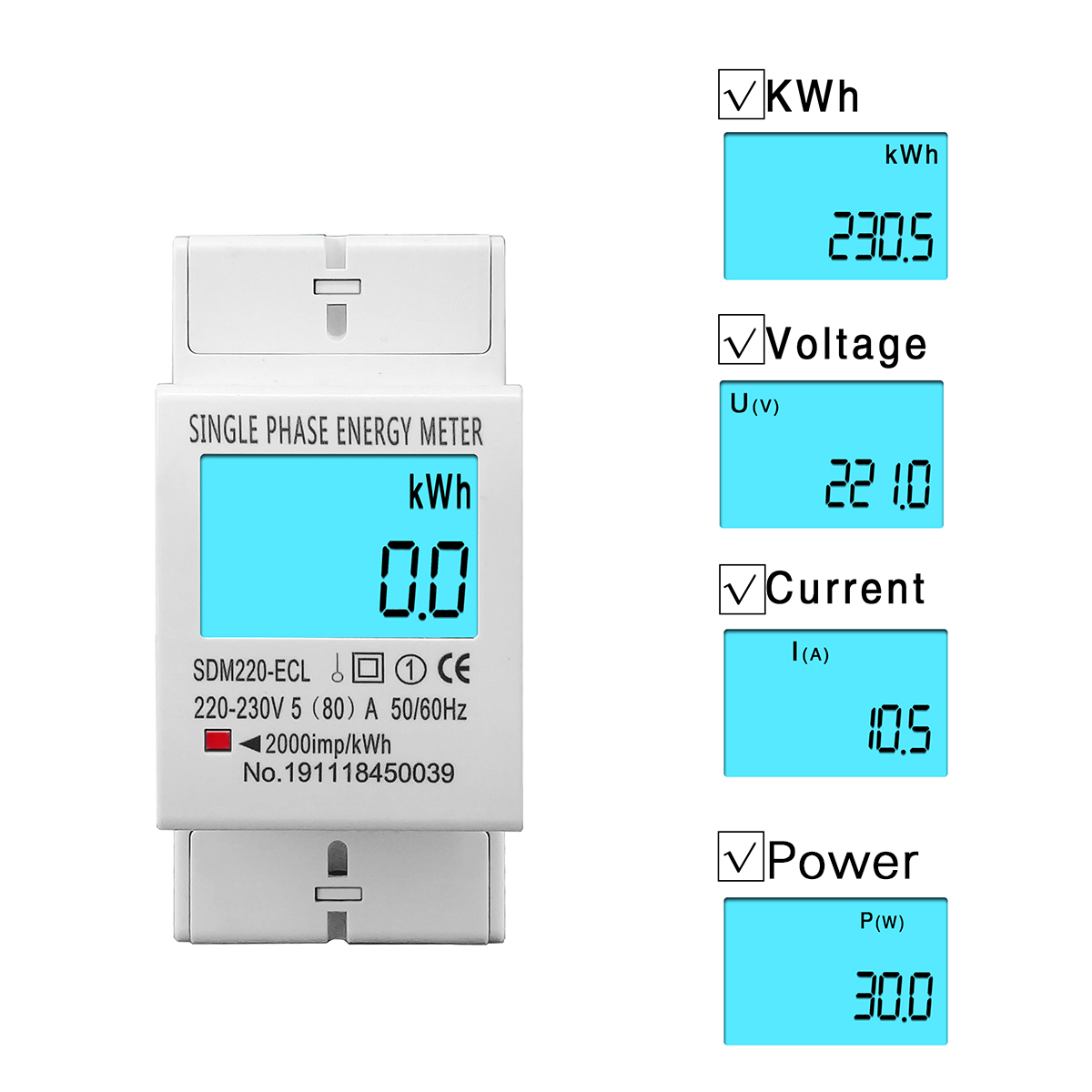 80A Din rail Single Phase Two Wire LCD Digital Display Power Consumption Energy Electric Meter kWh AC 220V 230V 50Hz/60Hz image