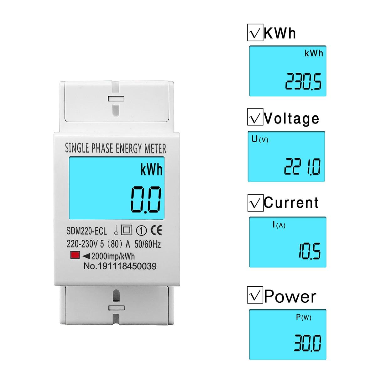 80A Din rail monophasé deux fils LCD affichage numérique consommation d'énergie compteur électrique kWh ca 220V 230V 50Hz/60Hz