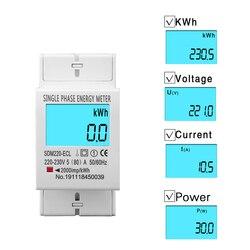 80A szyna Din jednofazowy dwuprzewodowy LCD cyfrowy wyświetlacz mocy zużycie energii licznik elektryczny kWh AC 220V 230V 50Hz/60Hz