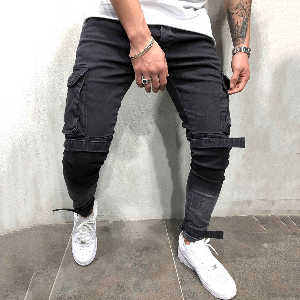 Cargo Pants Men Vintage Multi-pockets Slim Fit Black Jeans Streetwear Men's Hip Hop Denim Pencil Trousers Male Skinny Jeans D30