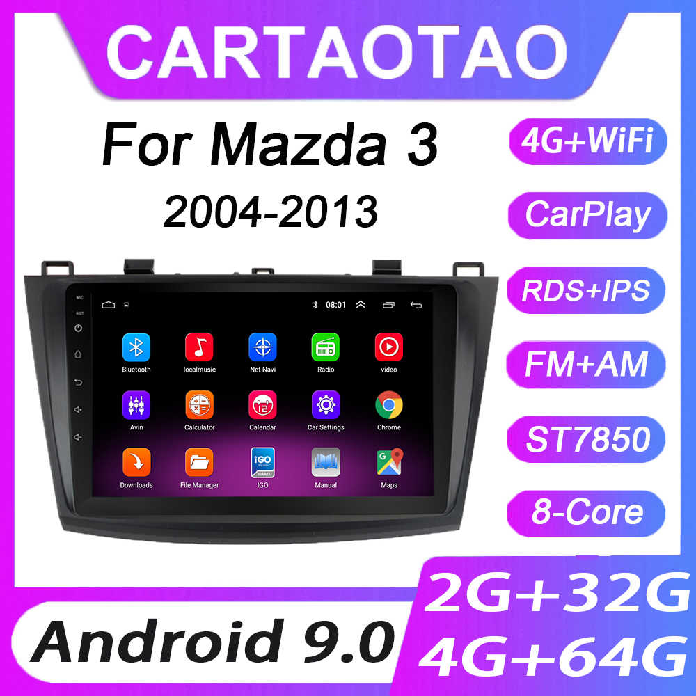 4G + 64G Android 9.0 Mobil DVD Player untuk Mazda 3 2004 2005 2006-2013 Mobil Radio GPS Navigasi WIFI RDS IPS Multimedia Player 2din