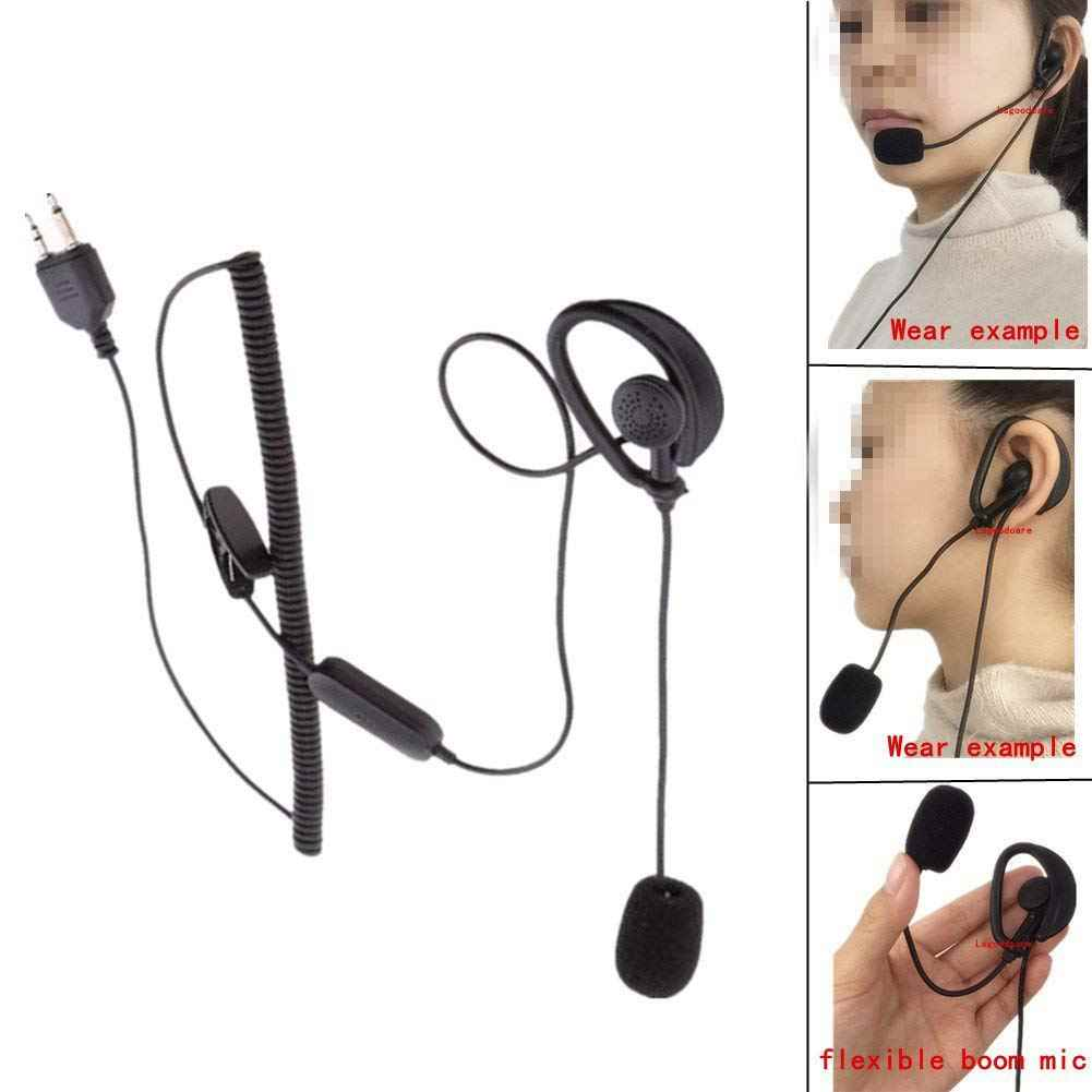 2 Pin Earpiece, D Shaped Ear Hook Headset Earphone PTT Mic (Boom Microphone) Compatible for Midland GXT400 GXT450 GXT500 G