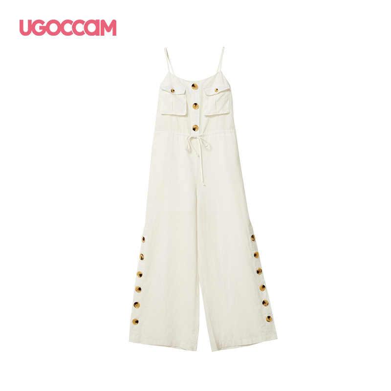 UGOCCAM комбинезон без рукавов женский macacao feminino 2019 свободные длинные брюки комплект брюки летние комбинезоны с открытыми плечами повседневные