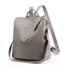 2020 Fashion Women's Leather Backpack Female Gray High Quality Trend Multifunction Back Pack Ladies Backbag Women Bags(China)