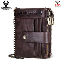 RFID Men Wallets Slim Leather Bifold Hasp Vintage Short  Male Purse Coin Pouch Multi-functional Cards Wallet Designer Chain Bag