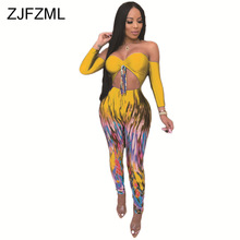 цена на Gradient Print Sexy Bodycon Jumpsuit Women Off The Shoulder Backless One Piece Overall  Casual Cut Out Night Club Party Playsuit