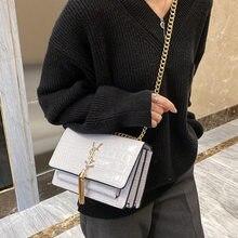 2021 New Crocodile-print fashion chain small square bag fashion one-shoulder stiletto hand-held women's bag
