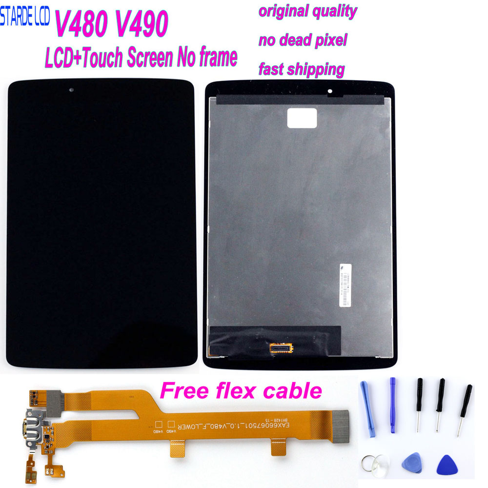 For LG G Pad 8.0 V480 LCD Display Matrix Touch Screen Digitizer Panel Sensor Glass Tablet Assembly V490 Replacement With Flex Ca