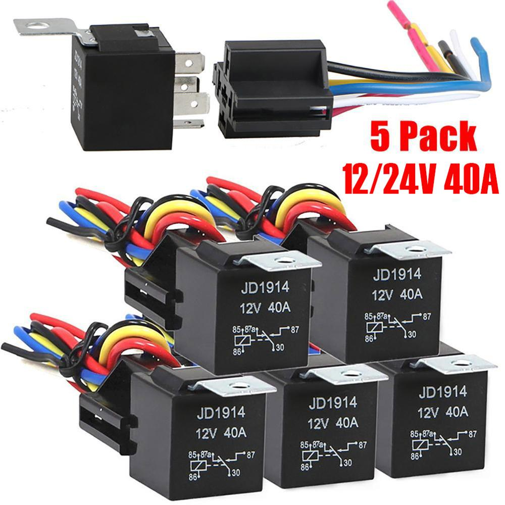 <font><b>12</b></font> V/24 V 40 A Waterproof Relay and Harness Heavy Duty <font><b>5</b></font>-Pin SPDT Automotive Relay image