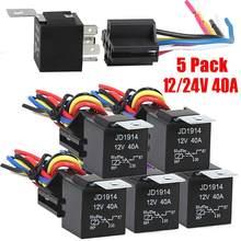 12 V/24 V 40 A wodoodporny przekaźnik i uprząż Heavy Duty 5-Pin SPDT przekaźnik samochodowy, niskie zużycie energii akcesoria samochodowe