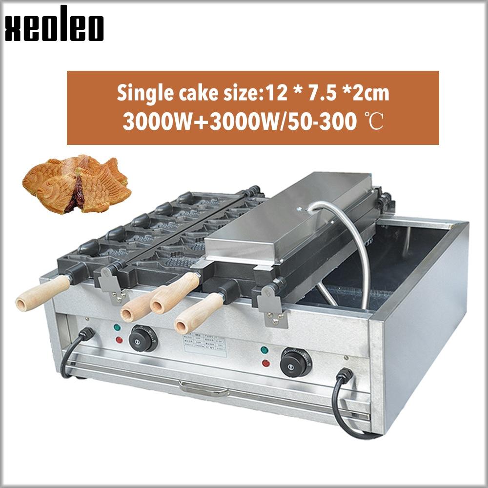XEOLEO Electric Taiyaki machine Fish shape Waffle maker 10pcs Cake machine 2 plate Waffle machine with Temperature control 3000W|Waffle Makers| |  - title=