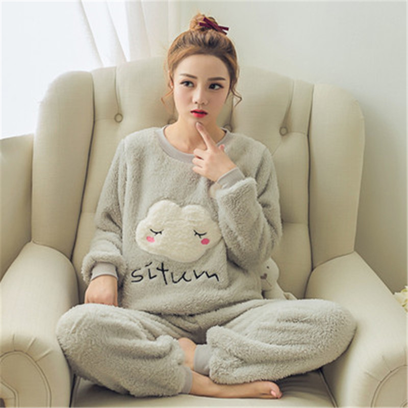 Autumn Winter Women Pajama Sets 2019 Pajamas Flannel Cartoon Thick Warm Women Sleepwear Cute Animal Female Homewear