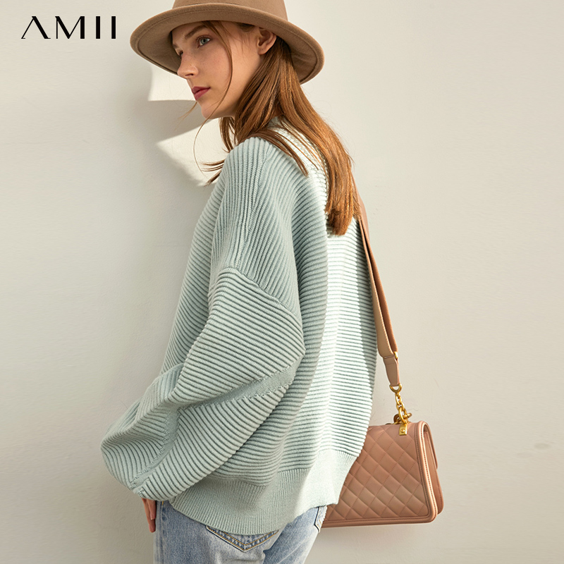 Amii Minimalist Pullover Sweater Autumn Women Solid Loose Puff Sleeve Elegant Female Short Knit Sweater 11960121