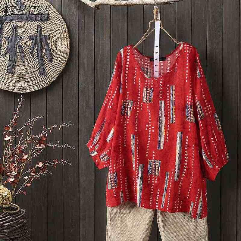 ZANZEA 2020 Frauen Tops und Blusen Vintage Floral Bedruckte T-shirts Casual O Neck Blusas Femininas 3/4 Hülse Arbeit Blusas Plus größe