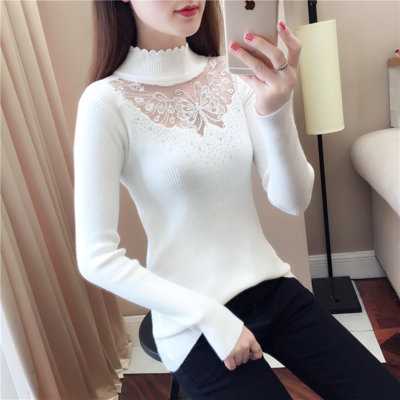 2019 Lace Winter Wave Turtleneck Pullovers Sexy Butterfly Hollow Out Autumn Red Sweaters Lady Diamond Full Sleeve Stretch Jumper