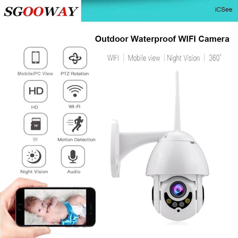 Sgooway impermeável ao ar livre wifi ptz pan tilt 1080 p hd câmera de segurança ip ir visão noturna