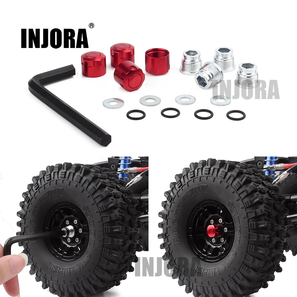 INJORA 4PCS Aluminium RC Car M4 Nut Wheel Rim Center Cap For 1/10 RC Crawler Traxxas TRX4 Axial SCX10 90046 Tamiya MST Redcat