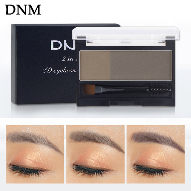 Double Color Eyebrow Powder Makeup Palette Natural Brown Eye Brow Enhancers 3D Eye Brows Shadow Cake Beauty Kit with Brush