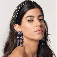 Multi-color Rhinestone Knot Hairbands For Women Vintage Soft Cotton Wide Turban Shining Hair Hoop Party Accessories F08811