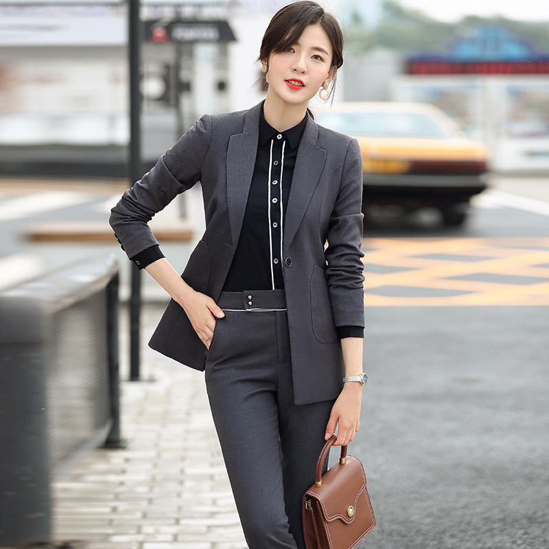 Gray Black Formal Elegant Women's 2 Piece Set Pants Suits Blazer Jacket Office Lady Work Business Uniform Trousers Clothing set