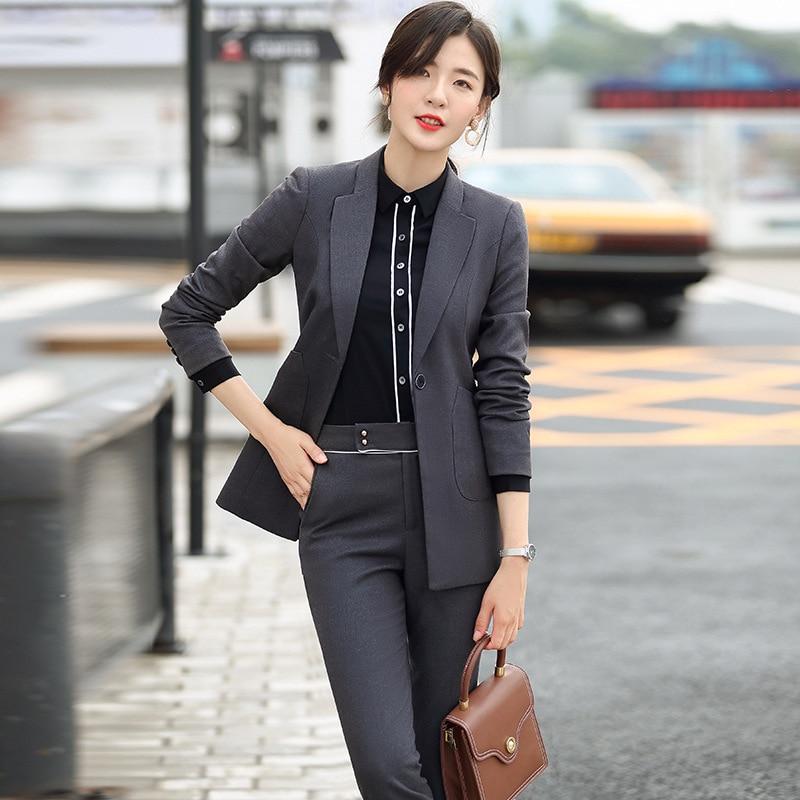 Gray Black Formal Elegant Women's 2 Piece Set Pants Suits Blazer Jacket Office Lady Work Business Uniform Trousers Clothing Set