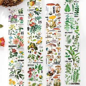 Retro Plant Collection Series Washi Tape PET Adhesive Tape DIY Scrapbooking Sticker Label Japanese Flower Mushroom Masking Tape