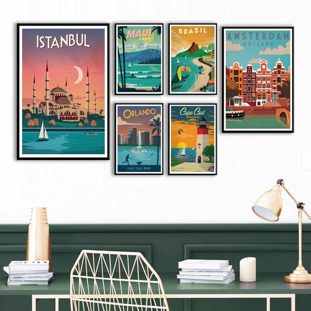 New York Netherlands Amsterdam London Vintage Travel Cities Landscape Art Painting Silk Canvas Poster Wall Home Decor