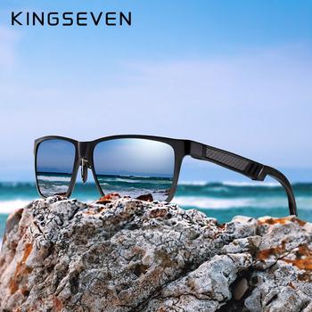 KINGSEVEN marka męskie okulary kwadratowe spolaryzowane okulary UV400 obiektyw akcesoria do okularów męskie okulary przeciwsłoneczne dla mężczyzn kobiet tanie i dobre opinie WOMEN Aluminium SQUARE Antyrefleksyjną Dla dorosłych N-7180 Akrylowe 62mm 50mm