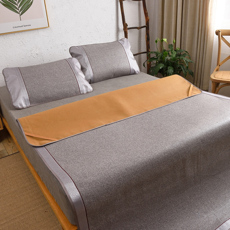 5D ice Cool Summer Silver mat kit Sleeping bed sheet set rattan fitted sheet solid mattress cover <font><b>150*200</b></font> bedspread 2or3pcs/set image