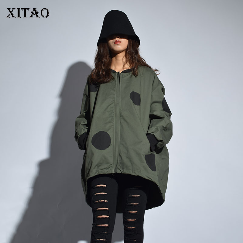 [XITAO] Europe 2018 New Arrival Autumn Casual Women Polka Dot Print Stand Collar Coat Female Full Sleeve Loose Jacket LJT3848