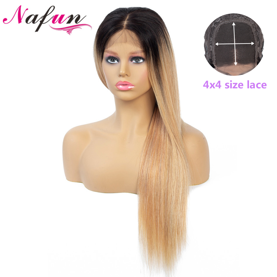 NAFUN T1B99j 27 4x4 Lace Front Human Hair Wigs Brazilian Straight Lace Front Wigs For Women Non-Remy 150% Density Swiss Lace Wig