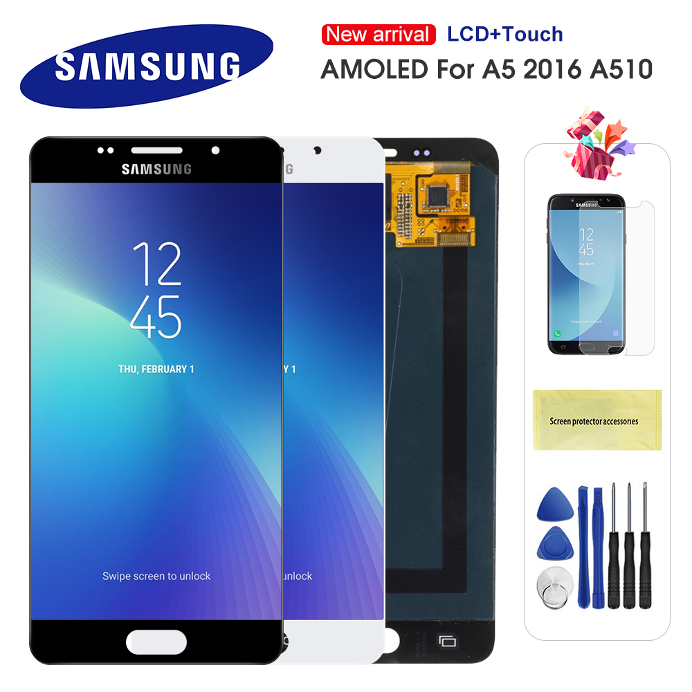 AMOLED 5,2 ''<font><b>LCD</b></font> Für <font><b>Samsung</b></font> Galaxy <font><b>A5</b></font> <font><b>2016</b></font> A510 A510F A510M A510FD A5100 A510Y <font><b>LCD</b></font> Display Touchscreen Digitizer montage image