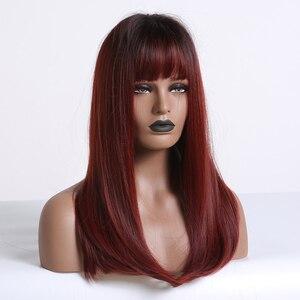 Image 4 - ALAN EATON uzun Ombre siyah şarap kırmızı düz sentetik peruk patlama isıya dayanıklı saç siyah kadınlar için Cosplay parti peruk