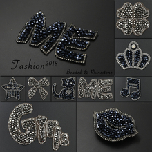 Rhinestone Shine Crown Iron on Patches for Clothing Bead Decorative Clothes Patch Crystal Applique Diamond Sewing Stickers JODc