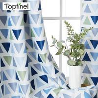 Topfinel-cortinas opacas geométricas triángulos para sala de estar, dormitorio moderno, cocina, cortinas estampadas, tratamiento de ventanas