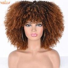 Annivia – perruques Afro synthétiques bouclées crépues avec frange pour femmes noires, perruques africaines blondes mixtes brunes résistantes à la chaleur pour Cosplay