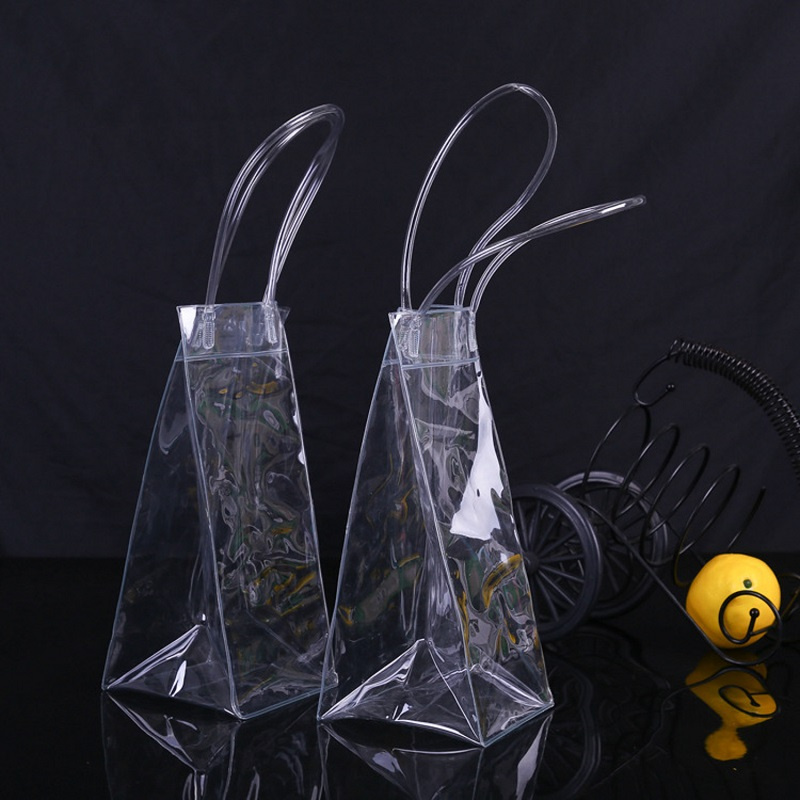 Durable Clear Transparent PVC Champagne Wine Ice Bag Pouch Cooler Bag with Handle Fast Shipping WB729 image