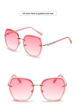 Fashion Oversized Sunglasses Women 2020 UV400 Designer Rimless Square Sun Glasses Woman Vintage  gafas de sol oculos With Box 7
