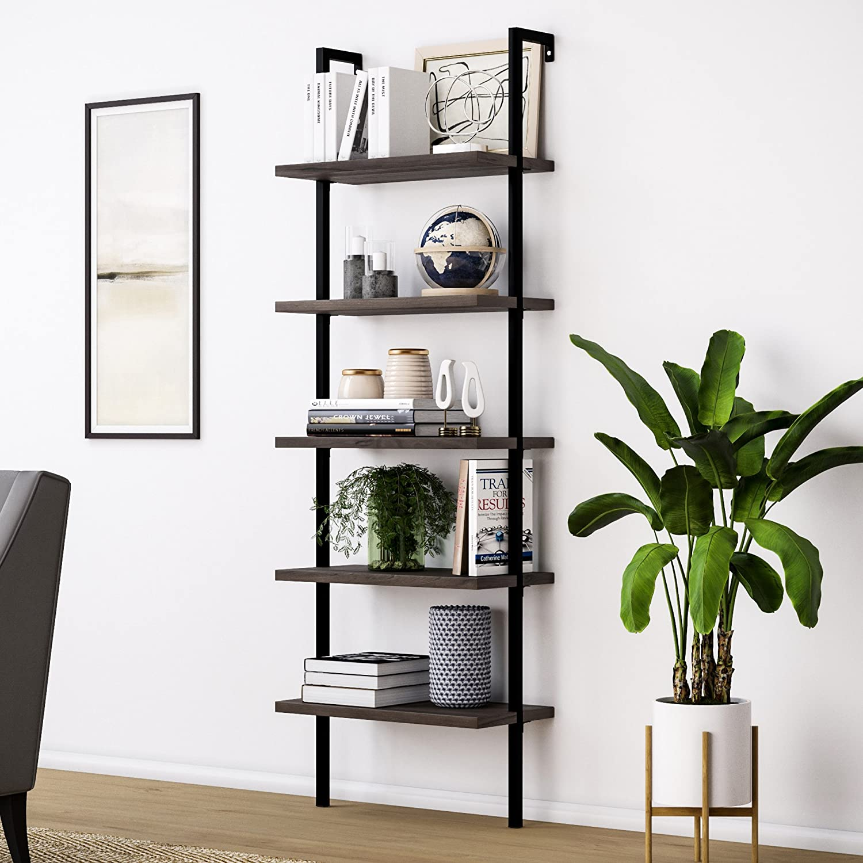 Bookshelf Bookcase 5-Tier Modern Ladder Shelf Multipurpose Storage Rack Industrial Metal Frame Sturdy Easy Install[US-Stock] 1