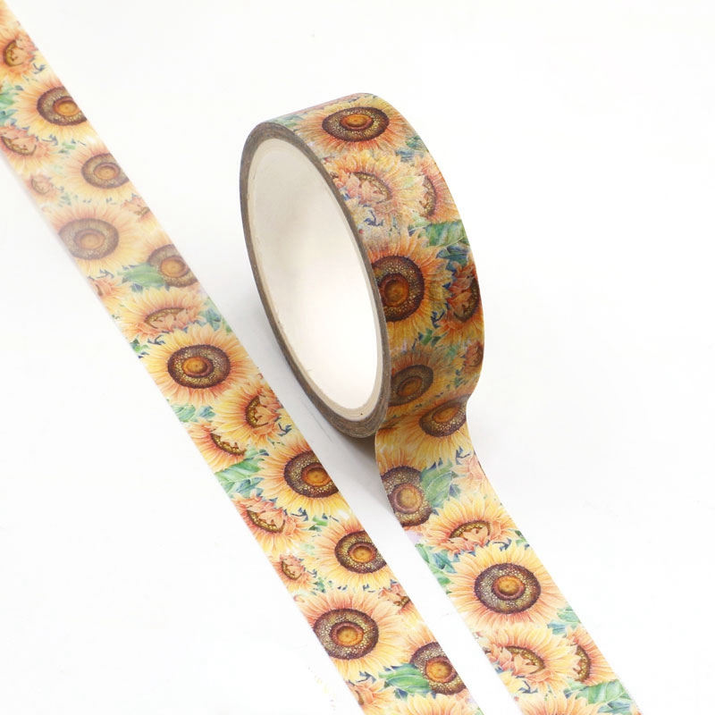 NEW Wholesale 10pcs/lot Decorative Sunflowers Washi Tapes DIY Scrapbooking Planner Adhesive Masking Tapes Kawaii Stationery