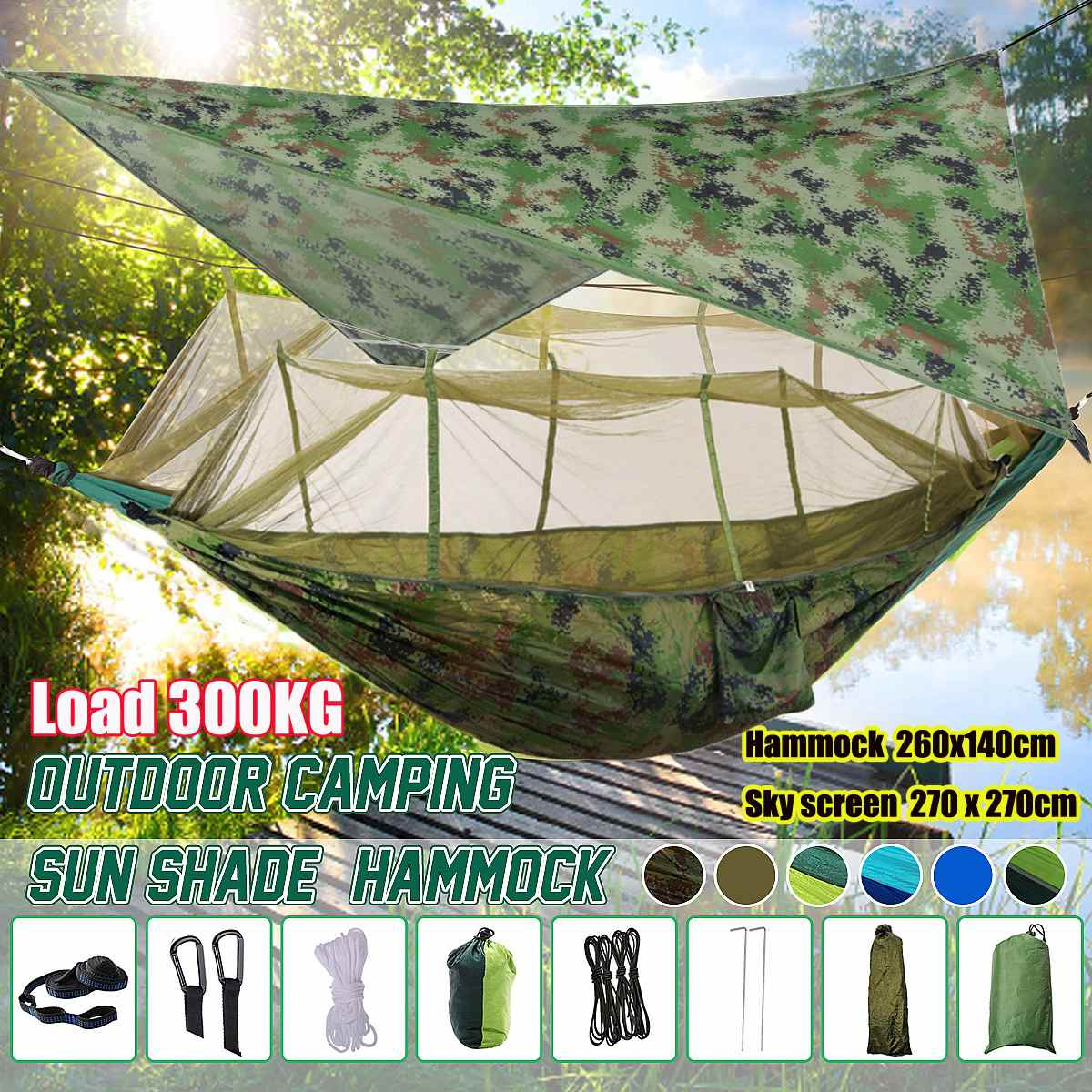 Outdoor Mosquito Net Parachute Hammock Camping Hanging Sleeping Bed Swing Portable Double Chair With Sun Shelter Garden Awning