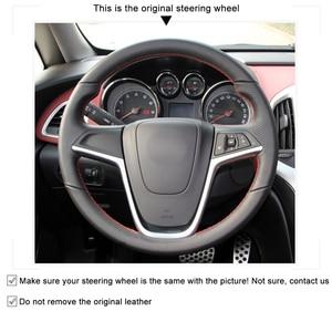 Image 3 - MEWANT Black Artificial Leather Steering Wheel Cover for Opel Mokka Insignia Astra (J) Meriva (B)  Ampera Cascada Zafira Tourer