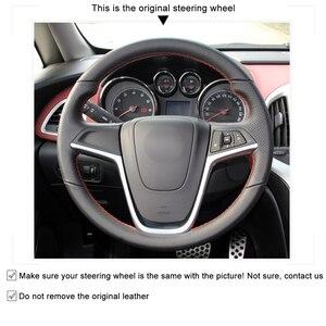 Image 3 - MEWANT Opel Mokka Insignia Astra (J) Meriva (B) Ampera Cascada Zafira Tourer 용 검은 인조 가죽 핸들 커버