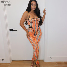 Sisterlinda Tie Dye Print Women Two Piece Co-Ord Sets Strap Bodysuit+Leggings Sexy Cut Out Bodycon Fashion Matching Suit Outfits