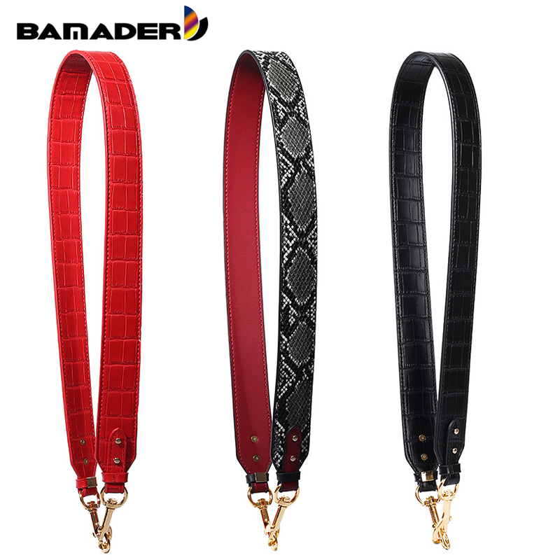 BAMADER New Fashion Snake Pattern Wide Shoulder Strap High Quality Crocodile Pattern Bag Strap Genuine Leather Bag Accessories