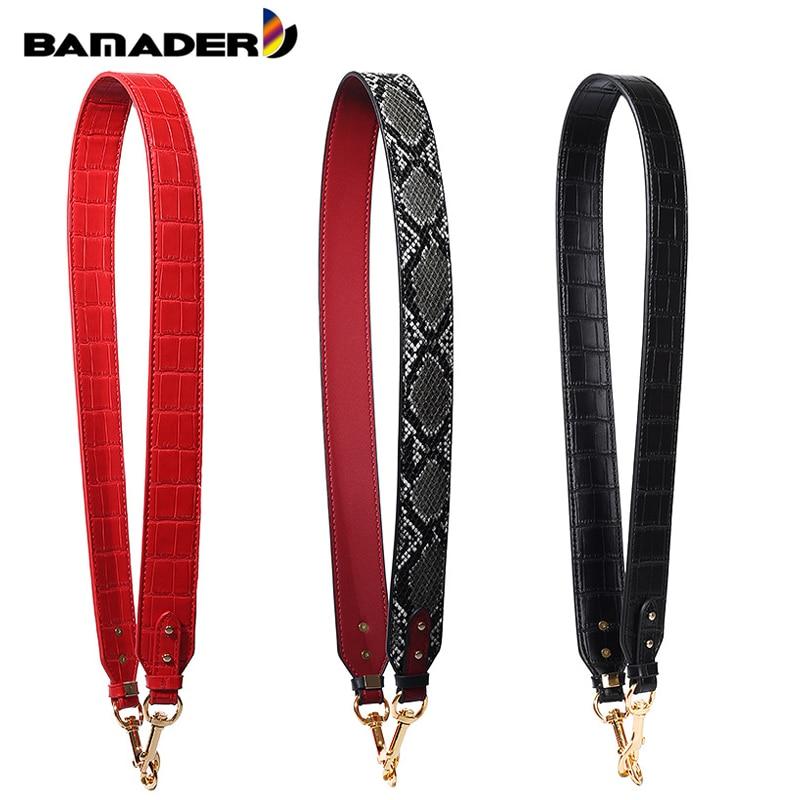 BAMADER Wide Shoulder Strap High Quality Bag Strap Snake、Crocodile Pattern Bag Strap New Fashion Genuine Leather Bag Accessorie