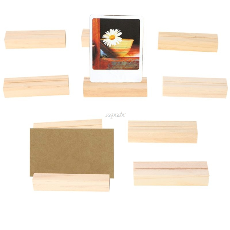 10pcs Natural Wood Numbers Photo Display Stand Business Card Holder Message Name Memo Clips Desk Organizer Dropship