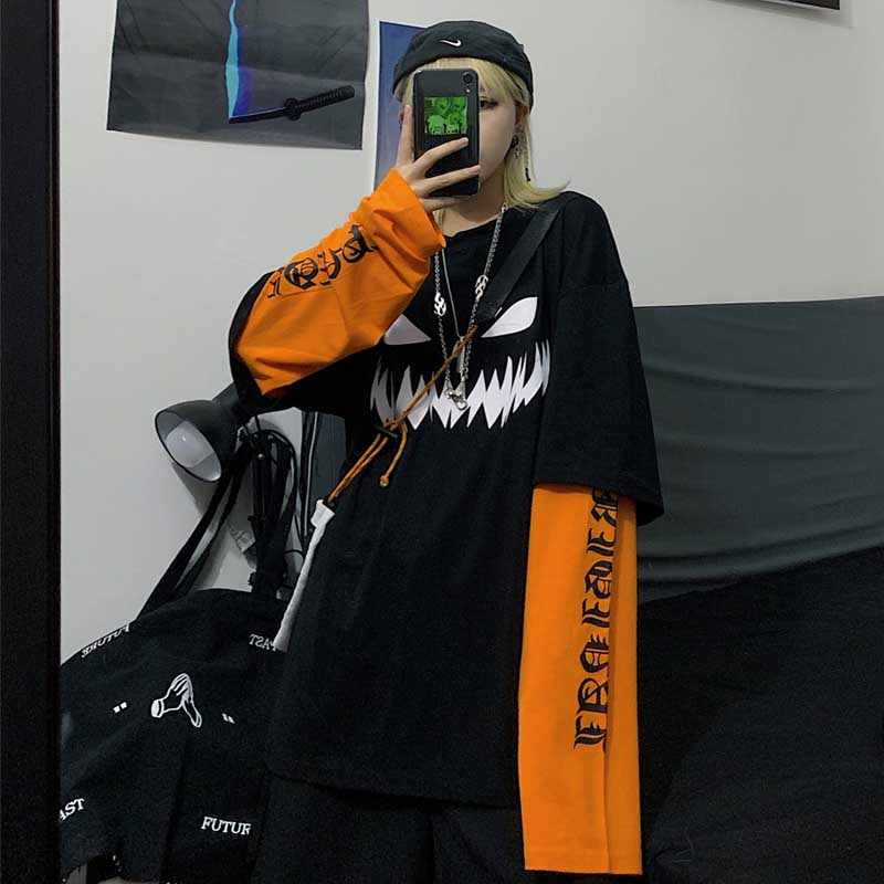 NiceMix Harajuku nadruk w dynie list T shirt fałszywy 2 sztuk Patchwork Casual z długim rękawem T-shirt kobiety i mężczyźni Streetwear topy