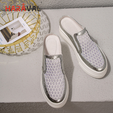 HARAVAL Leather round head mesh sandals women soft leather comfortable hollow casual shoes summer beach womens T33
